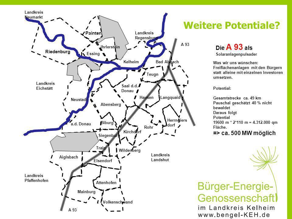 Weitere Potentiale Die A 93 als => ca. 500 MW möglich Painten