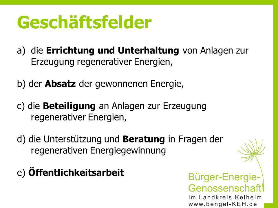 Geschäftsfelder die Errichtung und Unterhaltung von Anlagen zur Erzeugung regenerativer Energien, b) der Absatz der gewonnenen Energie,
