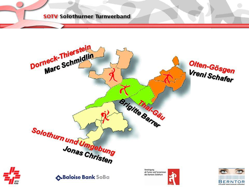 Dorneck-Thierstein Marc Schmidlin. Olten-Gösgen. Vreni Schafer. Brigitte Barrer. Thal-Gäu. Solothurn und Umgebung.