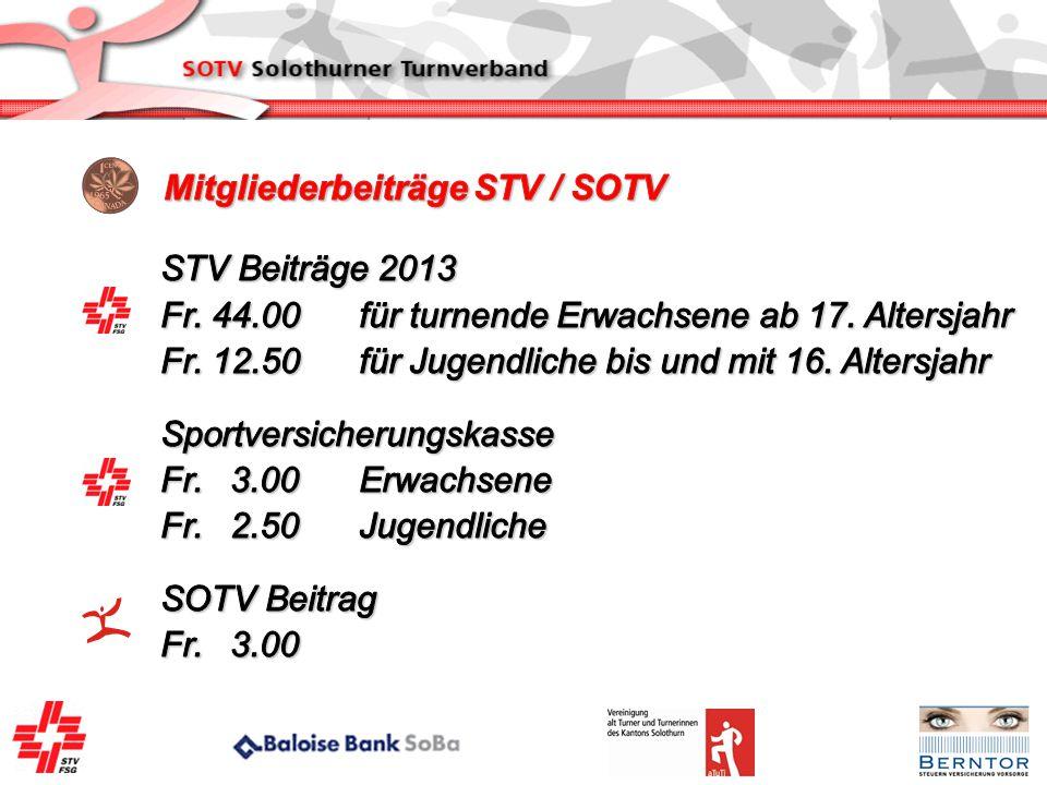 Mitgliederbeiträge STV / SOTV