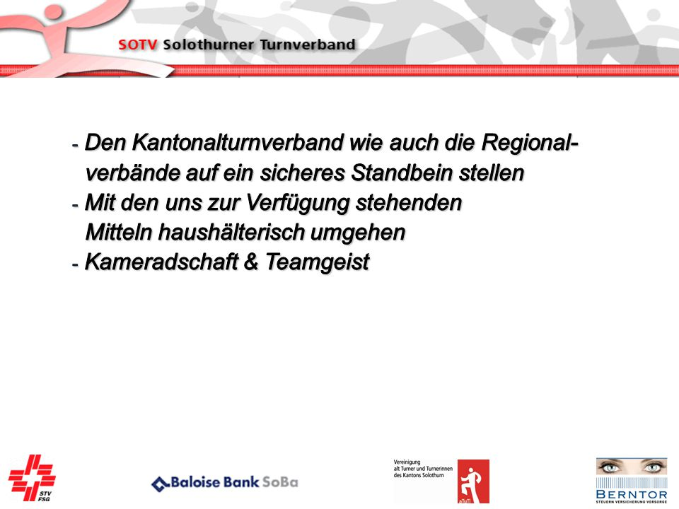 Den Kantonalturnverband wie auch die Regional-