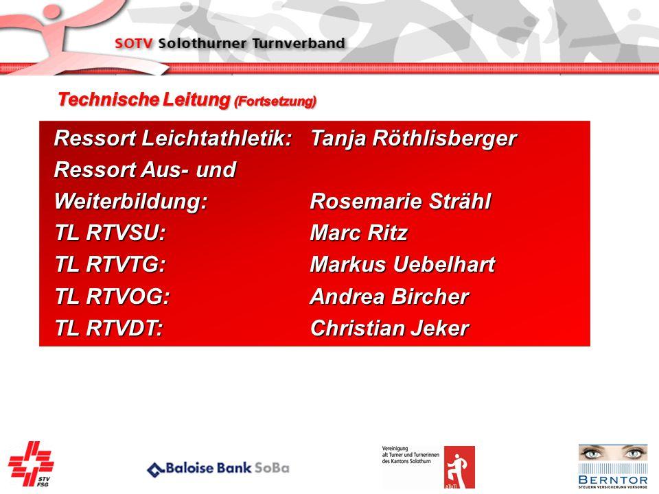 Ressort Leichtathletik: Tanja Röthlisberger Ressort Aus- und
