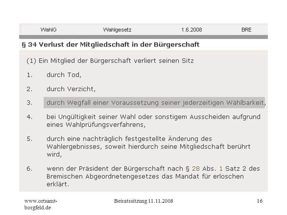 www.ortsamt-borgfeld.de Beiratssitzung 11.11.2008