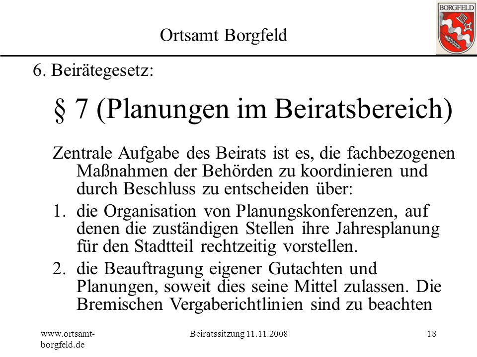 § 7 (Planungen im Beiratsbereich)