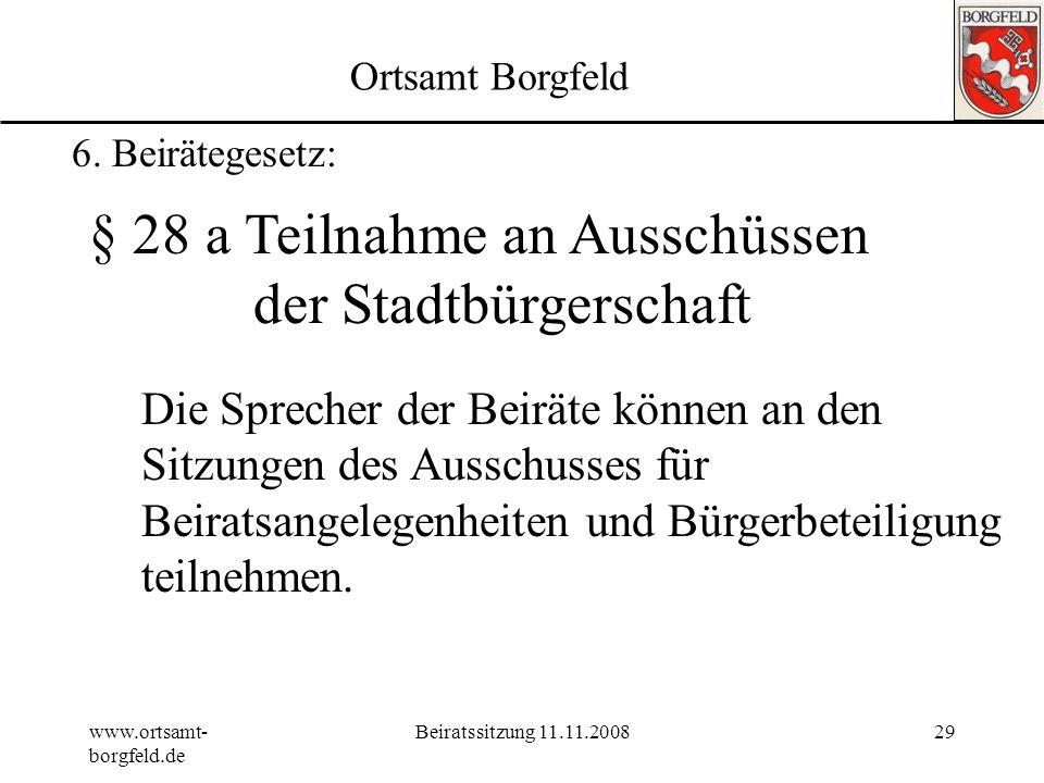 § 28 a Teilnahme an Ausschüssen der Stadtbürgerschaft
