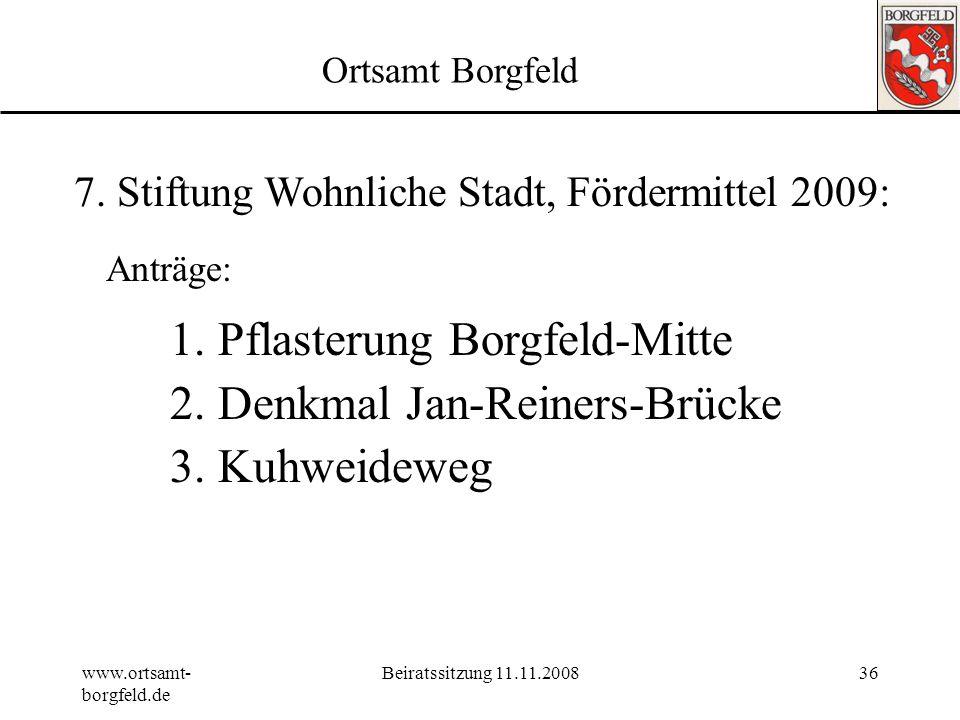 Pflasterung Borgfeld-Mitte Denkmal Jan-Reiners-Brücke Kuhweideweg