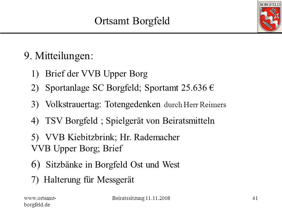 6) Sitzbänke in Borgfeld Ost und West
