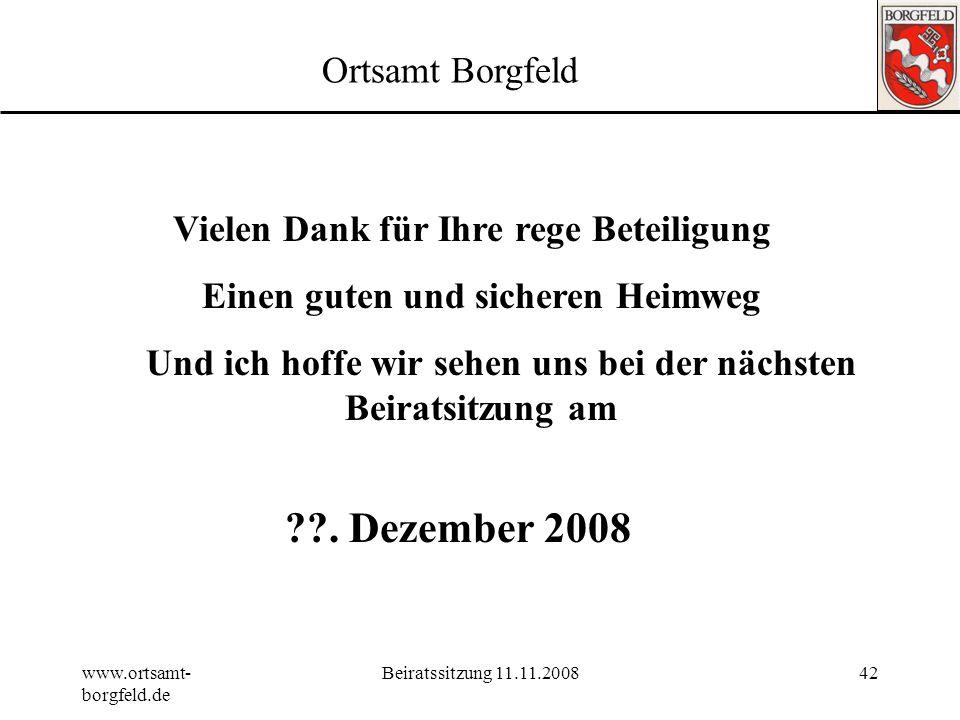 . Dezember 2008 Ortsamt Borgfeld