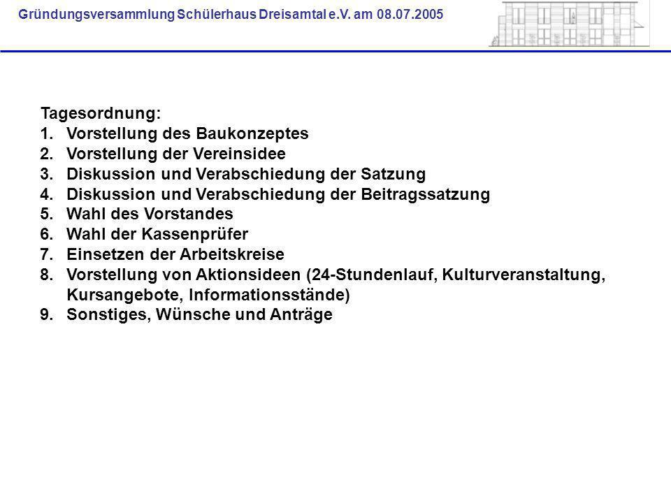 Tagesordnung: Vorstellung des Baukonzeptes. Vorstellung der Vereinsidee. Diskussion und Verabschiedung der Satzung.