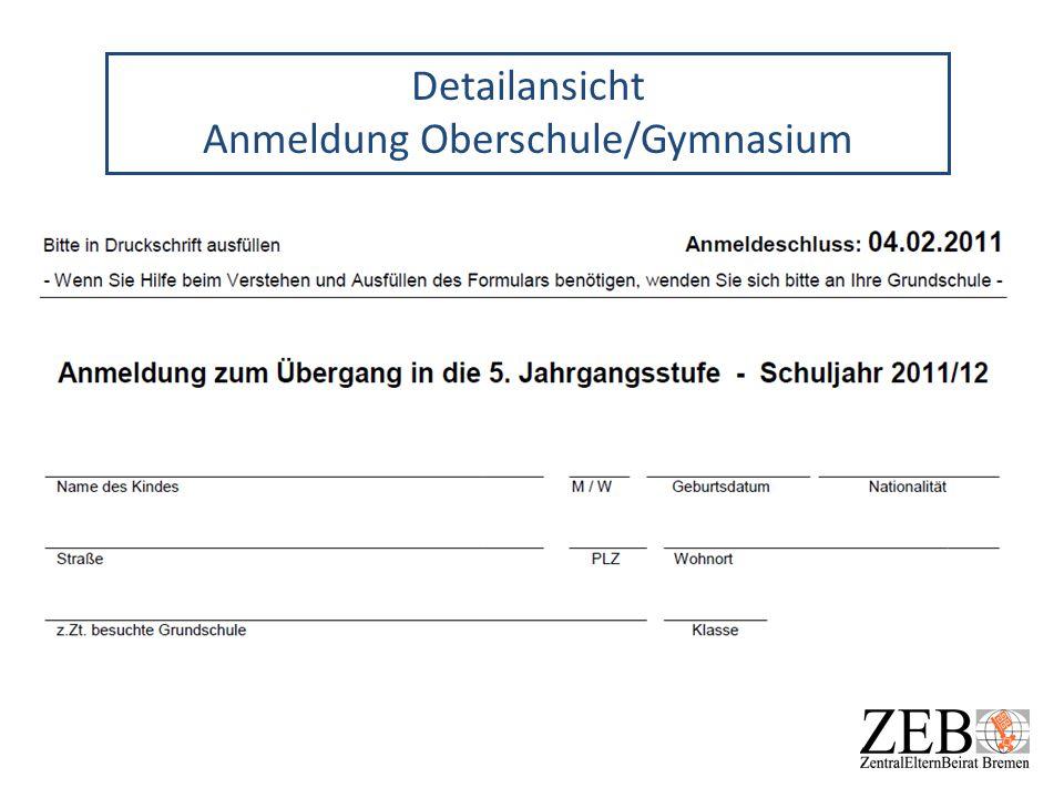 Detailansicht Anmeldung Oberschule/Gymnasium