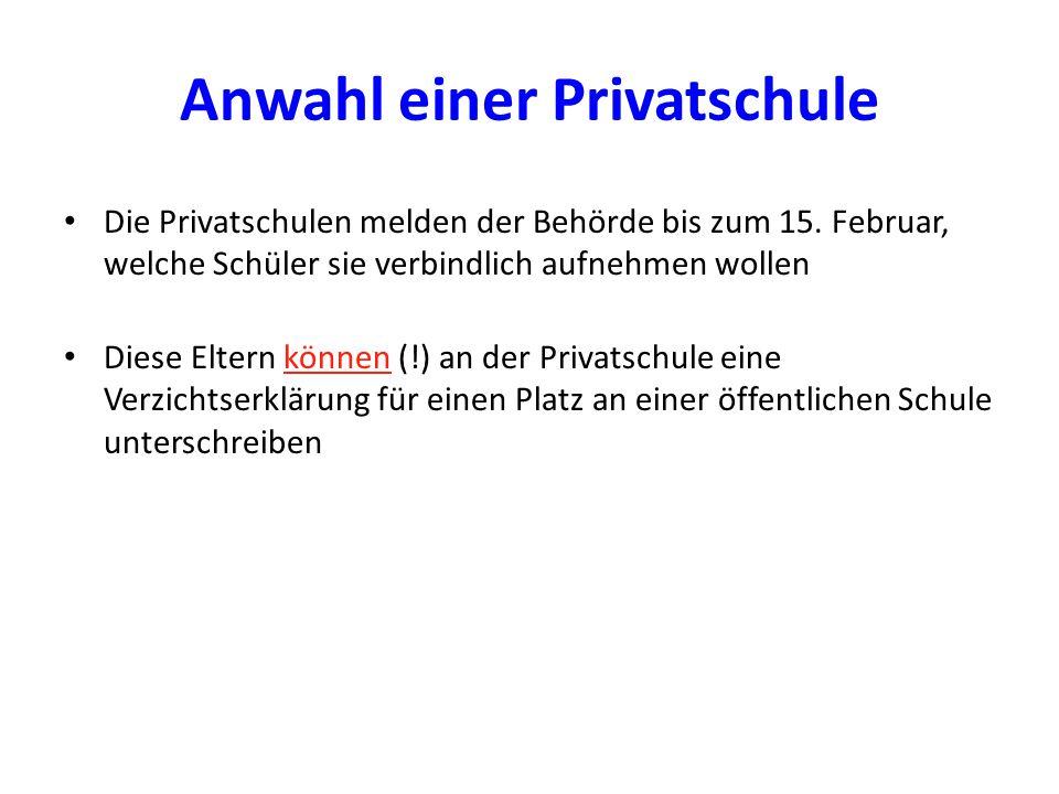 Anwahl einer Privatschule