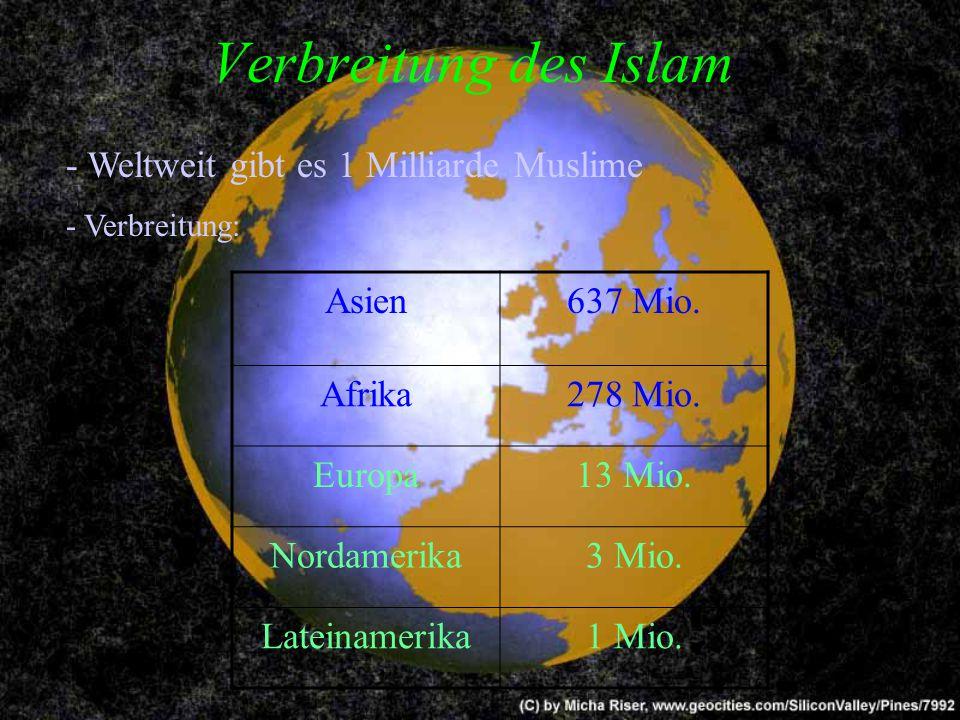 Verbreitung des Islam - Weltweit gibt es 1 Milliarde Muslime Asien
