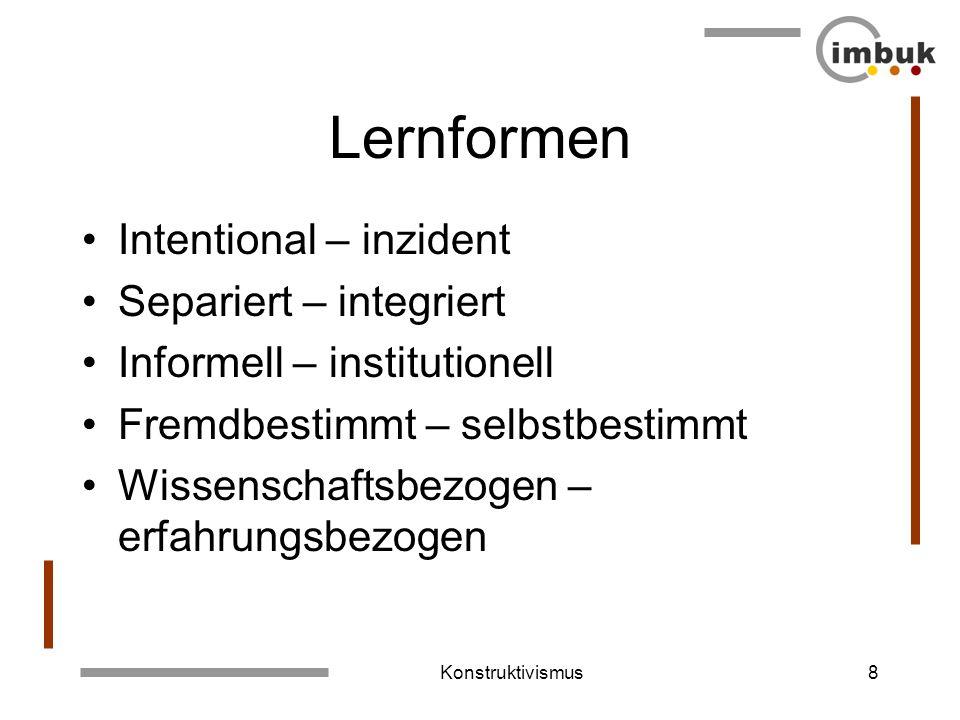 Lernformen Intentional – inzident Separiert – integriert
