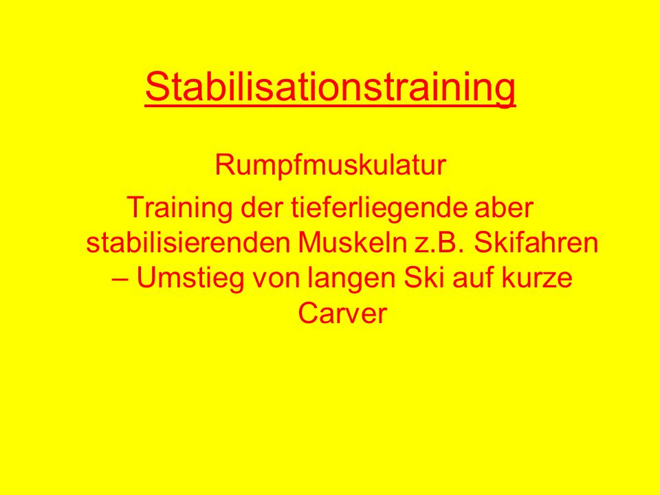 Stabilisationstraining