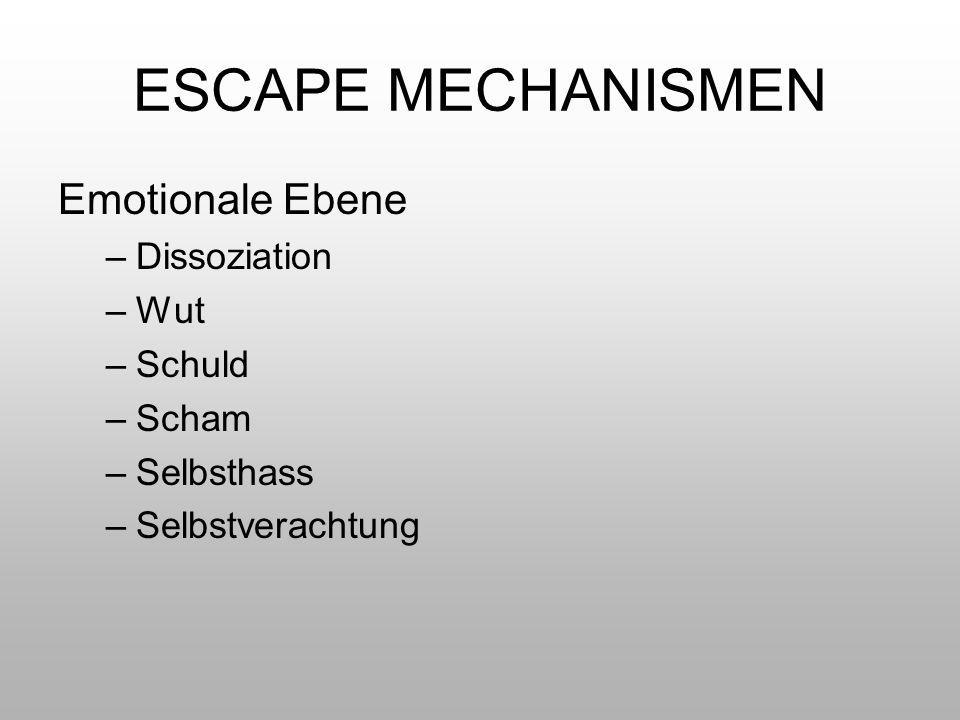 ESCAPE MECHANISMEN Emotionale Ebene Dissoziation Wut Schuld Scham