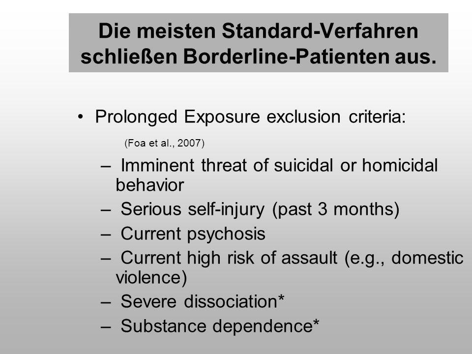 Die meisten Standard-Verfahren schließen Borderline-Patienten aus.