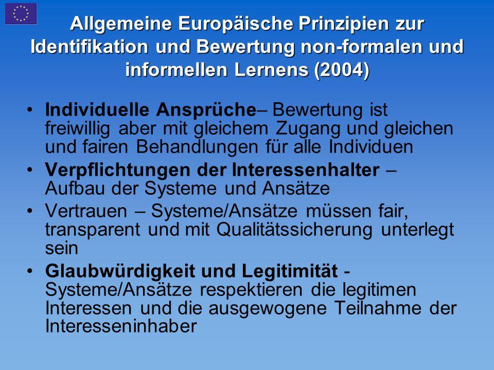 Allgemeine Europäische Prinzipien zur Identifikation und Bewertung non-formalen und informellen Lernens (2004)