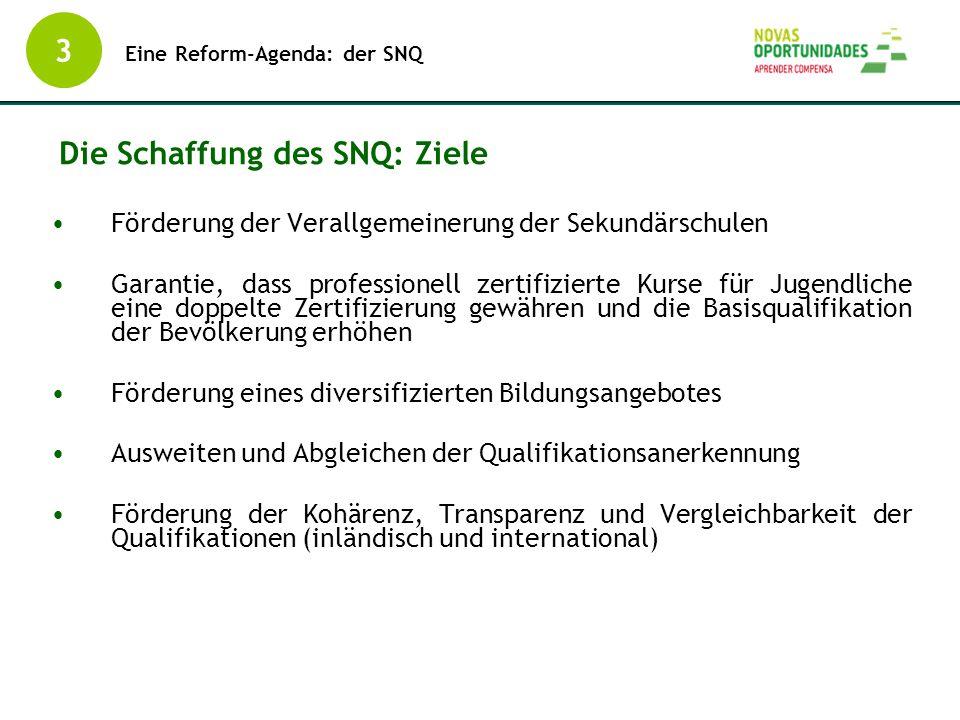 Die Schaffung des SNQ: Ziele