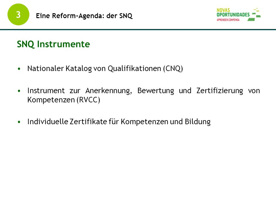 3 SNQ Instrumente Nationaler Katalog von Qualifikationen (CNQ)