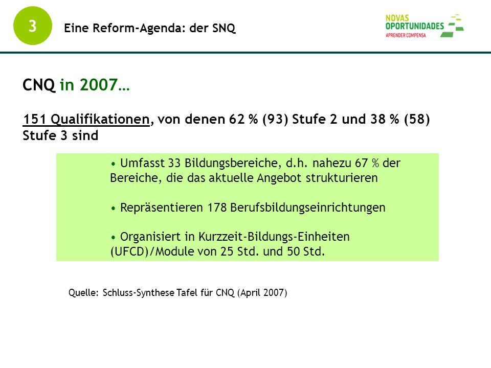 3 Eine Reform-Agenda: der SNQ. CNQ in 2007… 151 Qualifikationen, von denen 62 % (93) Stufe 2 und 38 % (58) Stufe 3 sind.