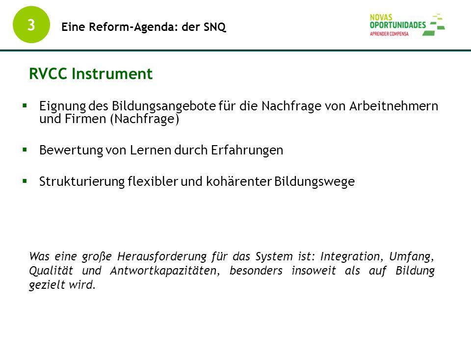 3 Eine Reform-Agenda: der SNQ. RVCC Instrument. Eignung des Bildungsangebote für die Nachfrage von Arbeitnehmern und Firmen (Nachfrage)