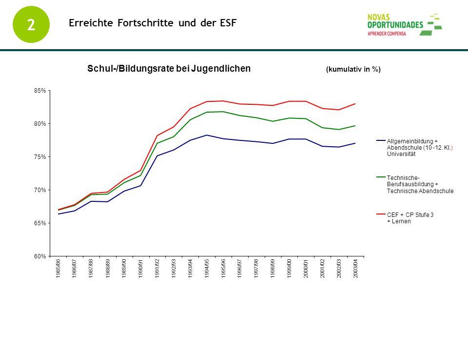 2 Erreichte Fortschritte und der ESF