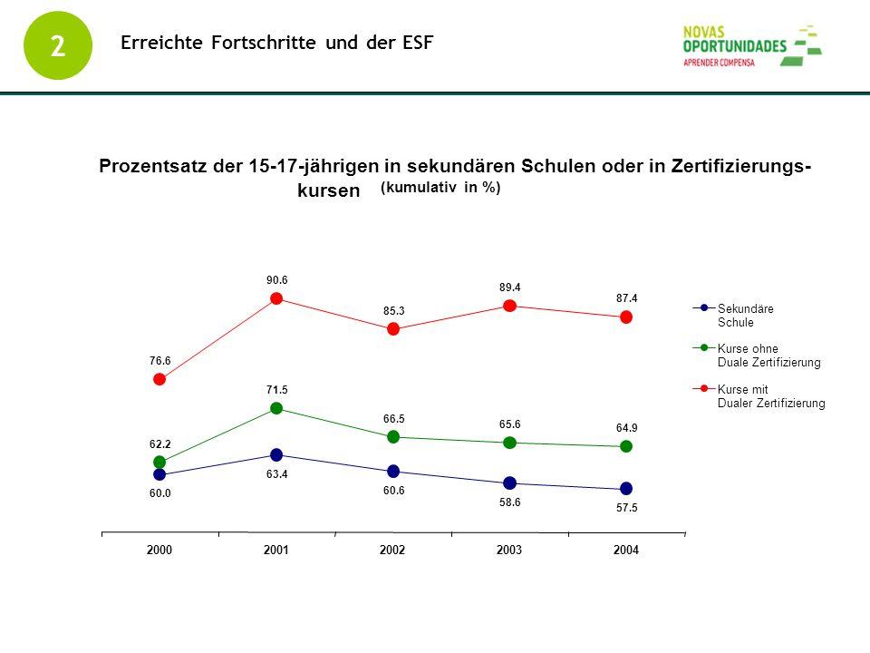 Erreichte Fortschritte und der ESF
