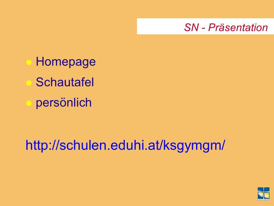 http://schulen.eduhi.at/ksgymgm/ Homepage Schautafel persönlich