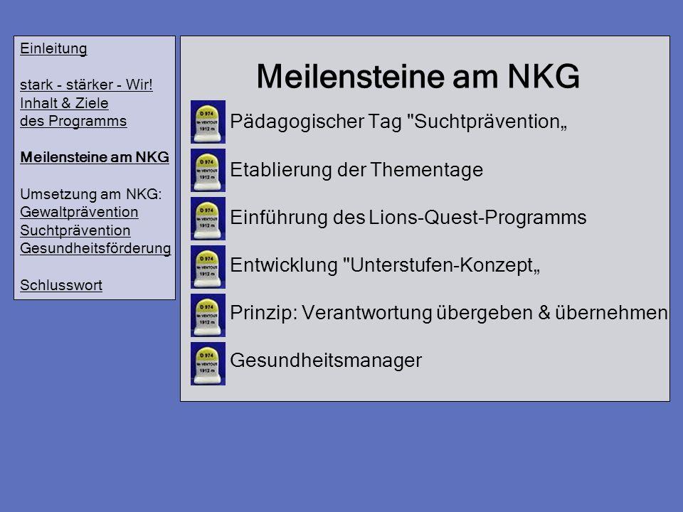 """Meilensteine am NKG Pädagogischer Tag Suchtprävention"""""""