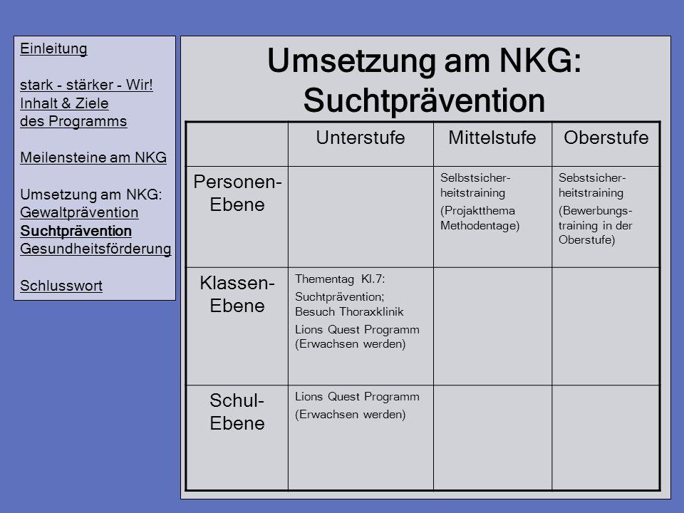 Umsetzung am NKG: Suchtprävention