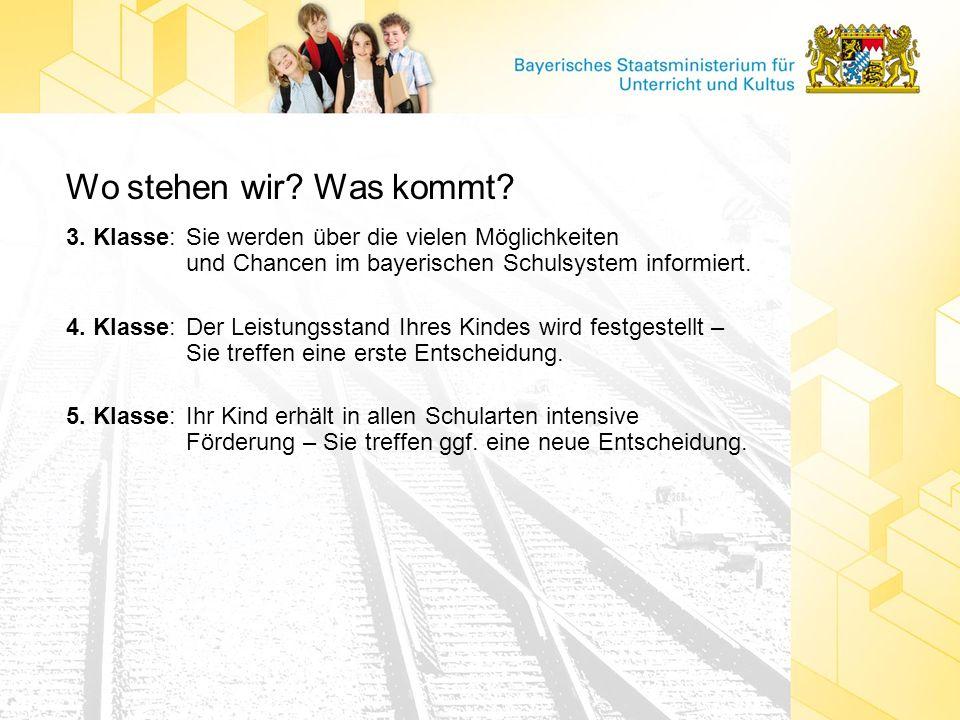 Wo stehen wir Was kommt 3. Klasse: Sie werden über die vielen Möglichkeiten und Chancen im bayerischen Schulsystem informiert.