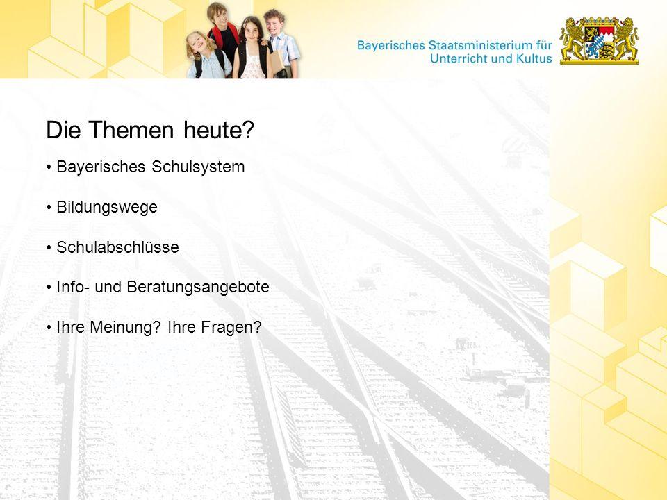 Die Themen heute • Bayerisches Schulsystem • Bildungswege