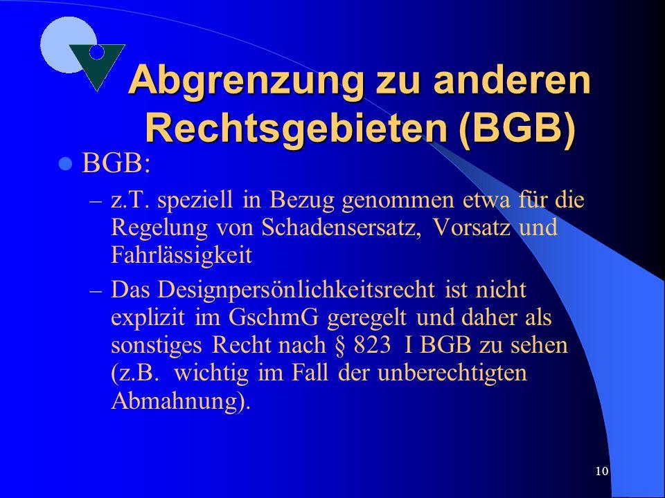 Abgrenzung zu anderen Rechtsgebieten (BGB)
