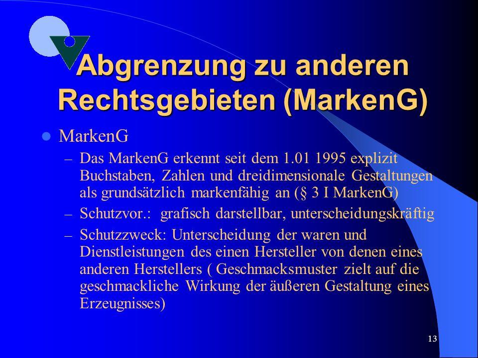 Abgrenzung zu anderen Rechtsgebieten (MarkenG)