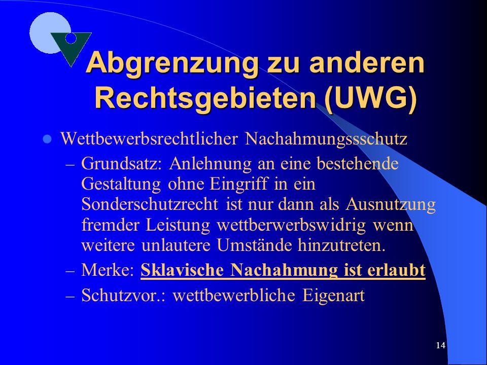 Abgrenzung zu anderen Rechtsgebieten (UWG)
