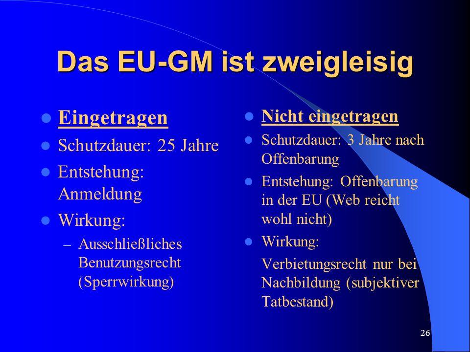 Das EU-GM ist zweigleisig