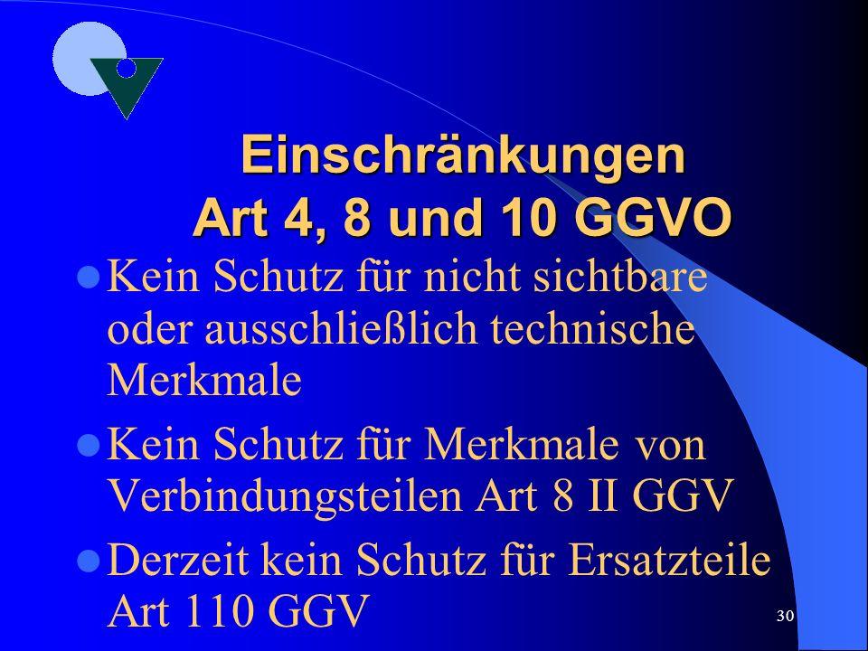 Einschränkungen Art 4, 8 und 10 GGVO