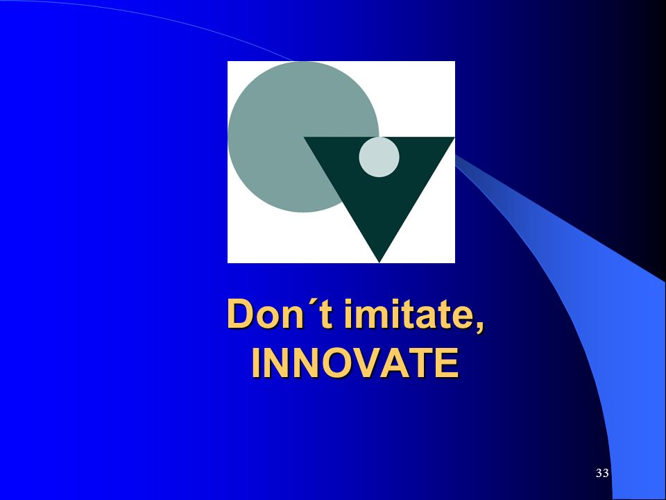 Don´t imitate, INNOVATE