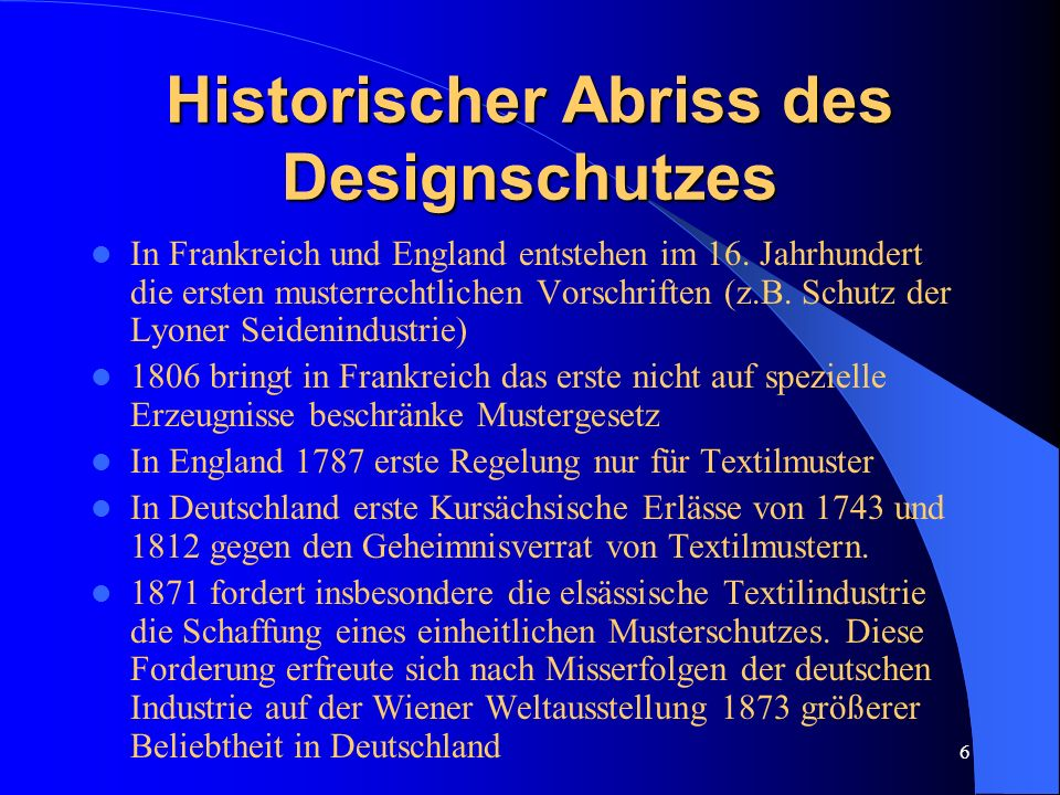 Historischer Abriss des Designschutzes