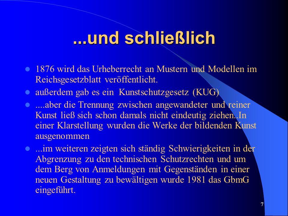 ...und schließlich 1876 wird das Urheberrecht an Mustern und Modellen im Reichsgesetzblatt veröffentlicht.