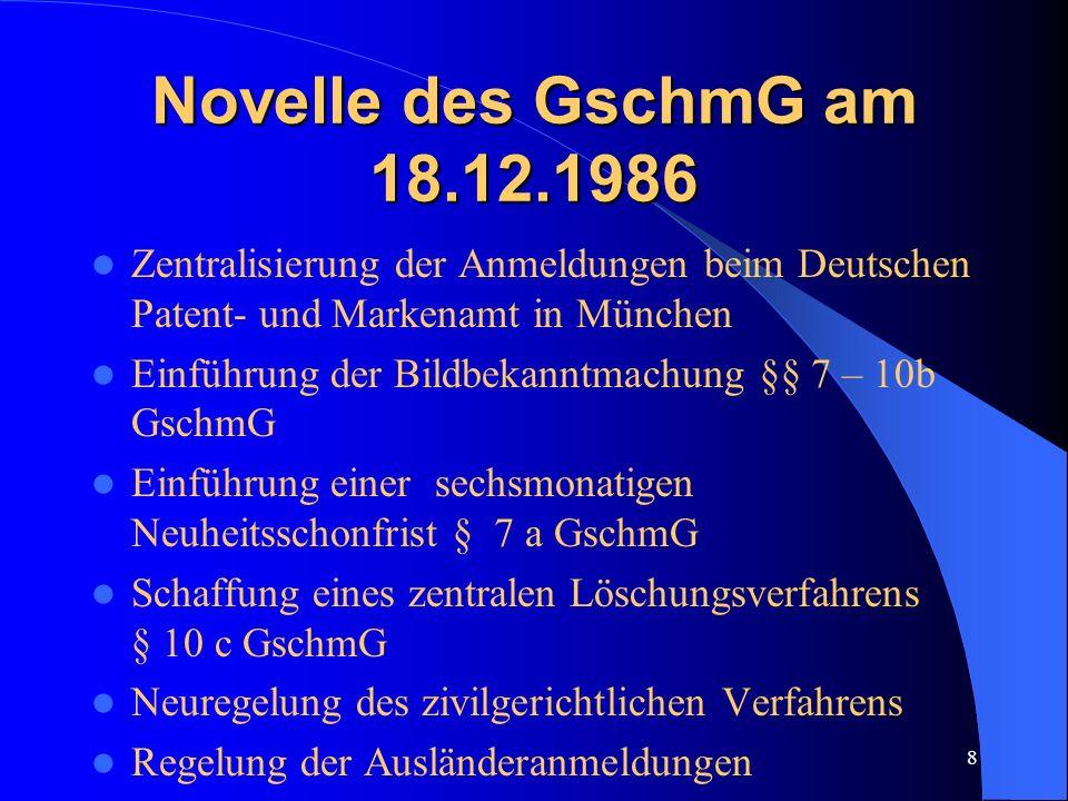 Novelle des GschmG am 18.12.1986 Zentralisierung der Anmeldungen beim Deutschen Patent- und Markenamt in München.