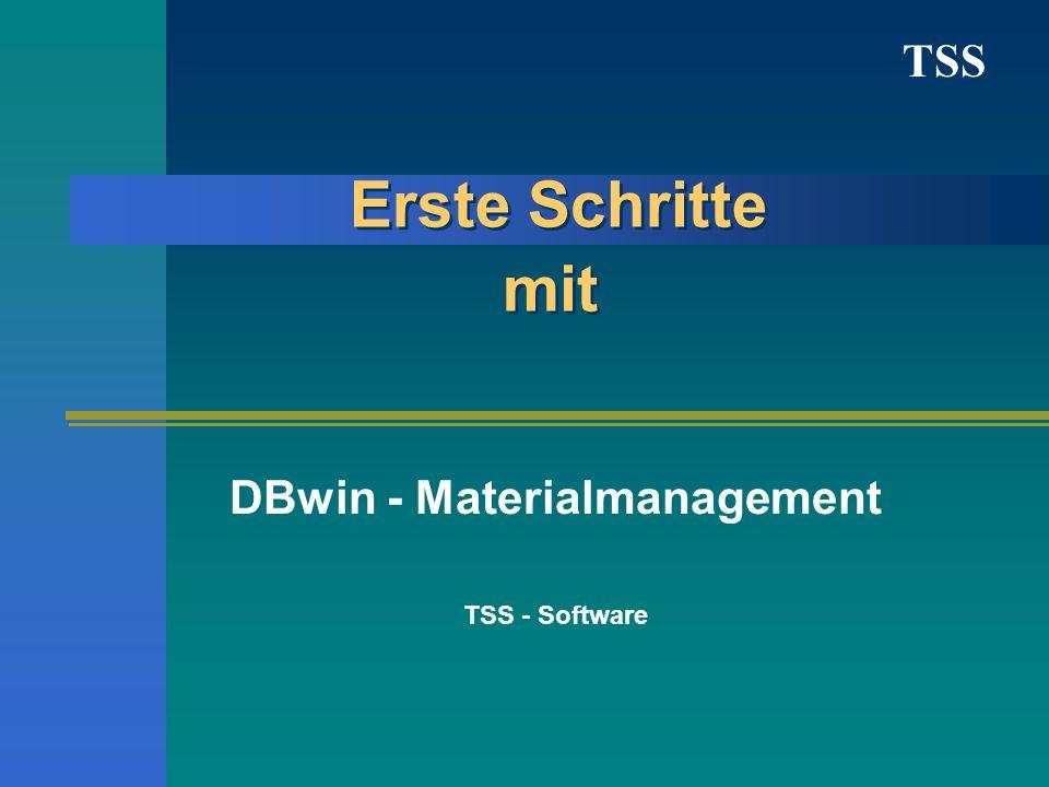 DBwin - Materialmanagement TSS - Software