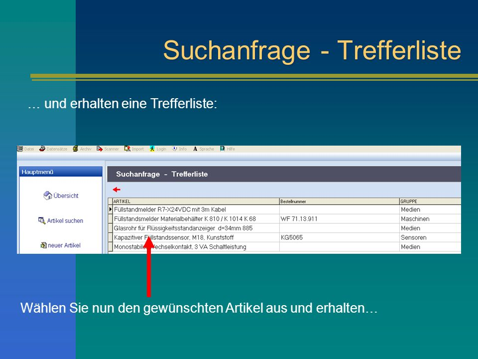 Suchanfrage - Trefferliste