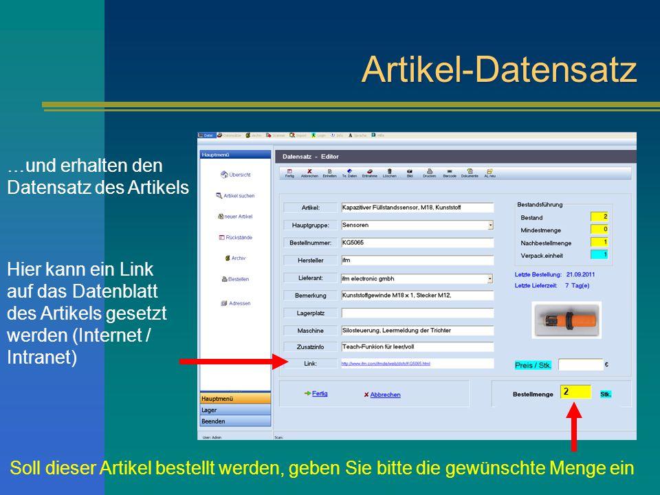 Artikel-Datensatz …und erhalten den Datensatz des Artikels
