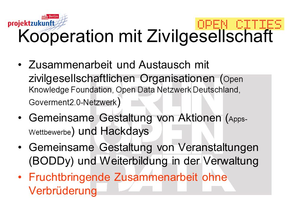 Kooperation mit Zivilgesellschaft
