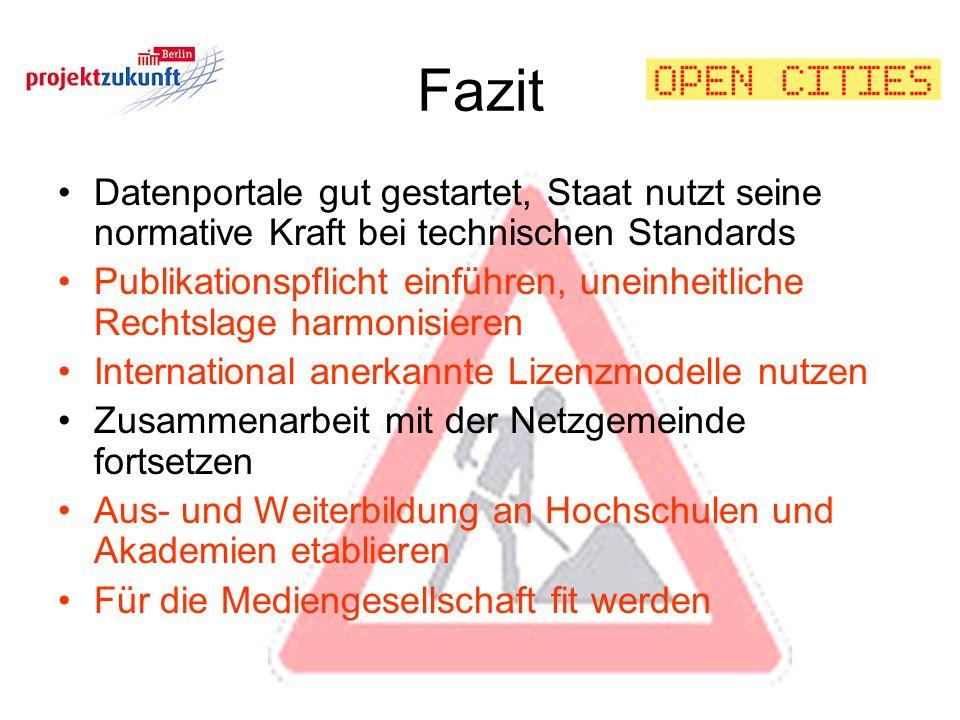 Fazit Datenportale gut gestartet, Staat nutzt seine normative Kraft bei technischen Standards.