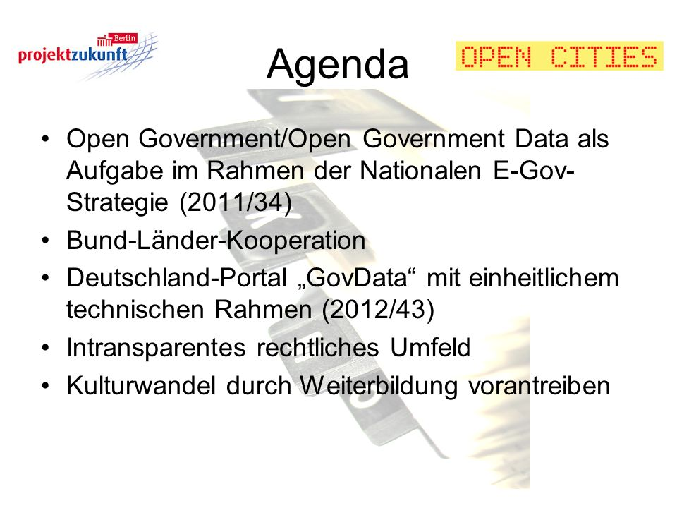 Agenda Open Government/Open Government Data als Aufgabe im Rahmen der Nationalen E-Gov-Strategie (2011/34)