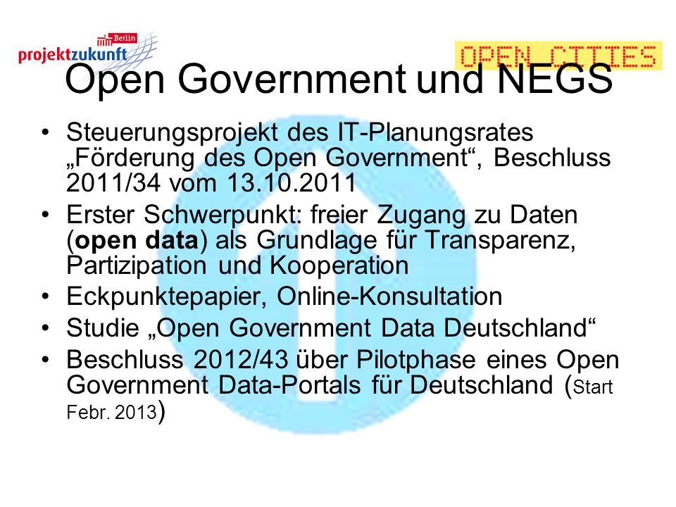 Open Government und NEGS