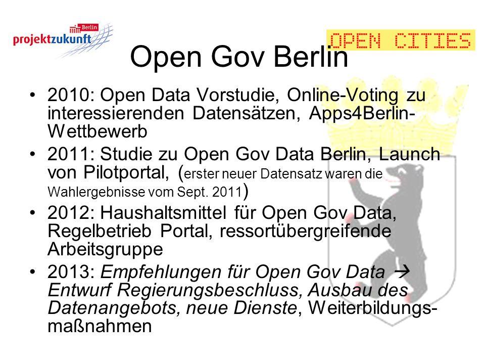 Open Gov Berlin 2010: Open Data Vorstudie, Online-Voting zu interessierenden Datensätzen, Apps4Berlin-Wettbewerb.