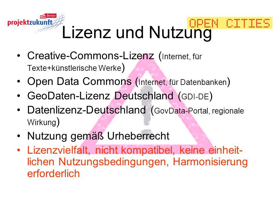 Lizenz und Nutzung Creative-Commons-Lizenz (Internet, für Texte+künstlerische Werke) Open Data Commons (Internet, für Datenbanken)